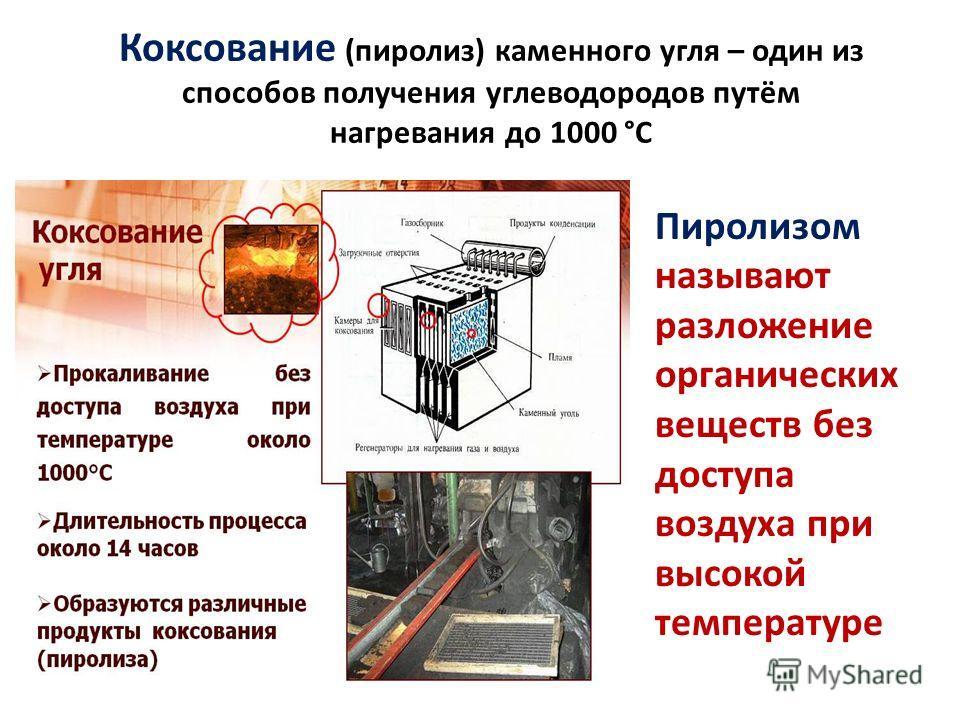 Коксование (пиролиз) каменного угля – один из способов получения углеводородов путём нагревания до 1000 °С Пиролизом называют разложение органических веществ без доступа воздуха при высокой температуре