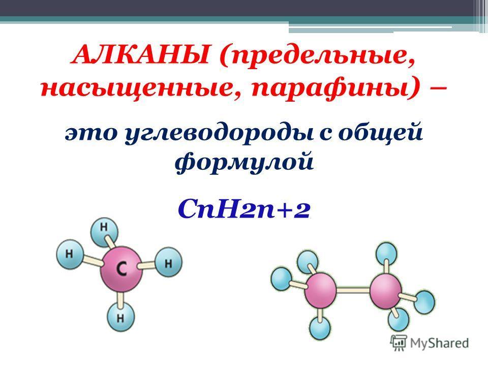 АЛКАНЫ (предельные, насыщенные, парафины) – это углеводороды с общей формулой CnH2n+2