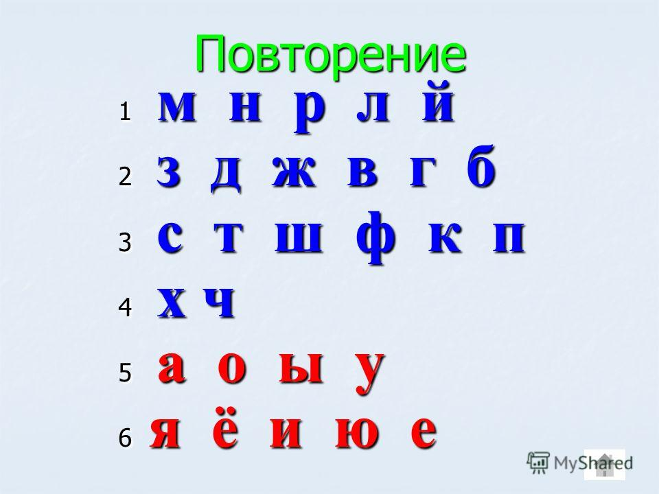 Повторение 1 м н р л й 2 з д ж в г б 3 с т ш ф к п 4 х ч 5 а о ы у 6 я ё и ю е