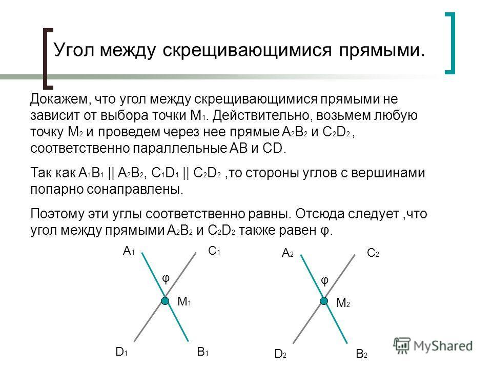 Угол между скрещивающимися прямыми. Докажем, что угол между скрещивающимися прямыми не зависит от выбора точки M 1. Действительно, возьмем любую точку M 2 и проведем через нее прямые A 2 B 2 и C 2 D 2, соответственно параллельные AB и CD. Так как A 1