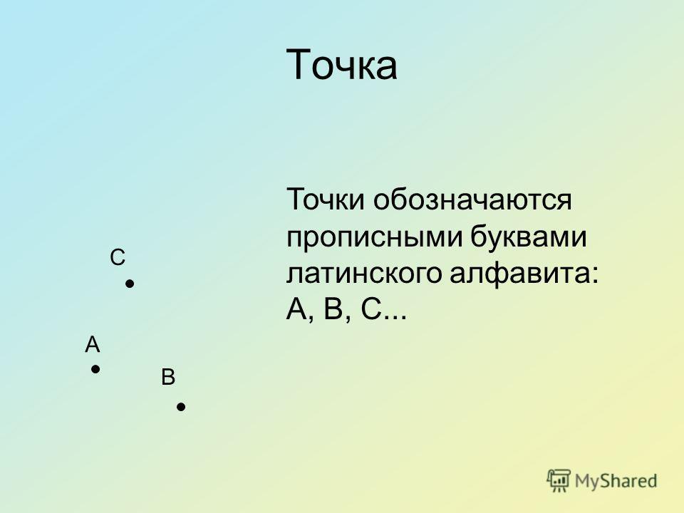 Точка A B C Точки обозначаются прописными буквами латинского алфавита: A, B, C...