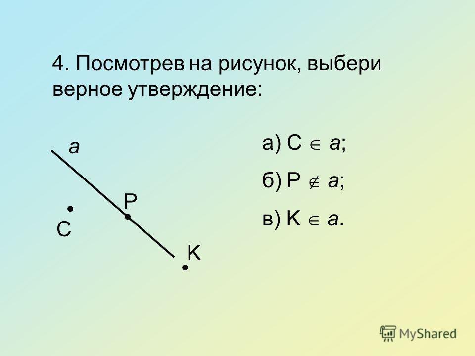 4. Посмотрев на рисунок, выбери верное утверждение: а) C a; б) P a; в) K a. а P K C