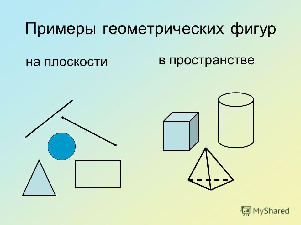 Примеры геометрических фигур на плоскости в пространстве