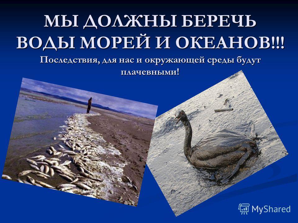 МЫ ДОЛЖНЫ БЕРЕЧЬ ВОДЫ МОРЕЙ И ОКЕАНОВ!!! Последствия, для нас и окружающей среды будут плачевными!