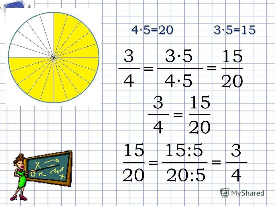 45=2035=15 45 3 4 = 35 = 15 20 3 4 = 15 20 20:5 15 20 = 15:5 = 3 4