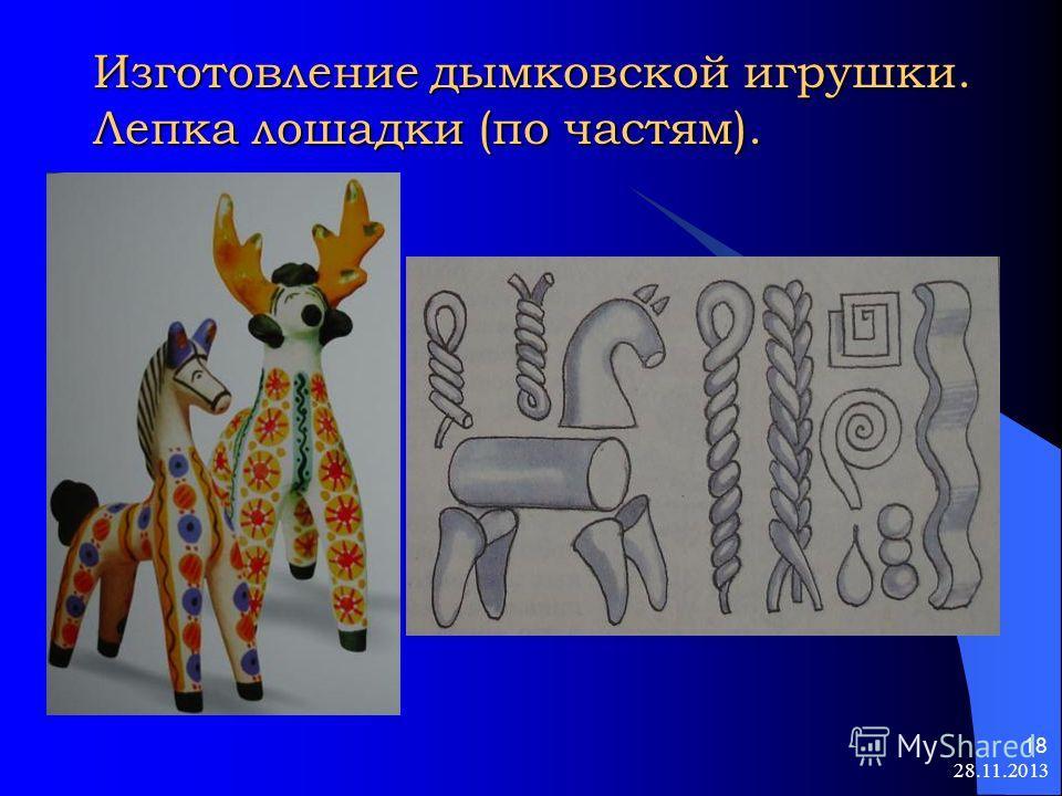 28.11.2013 18 Изготовление дымковской игрушки. Лепка лошадки (по частям).