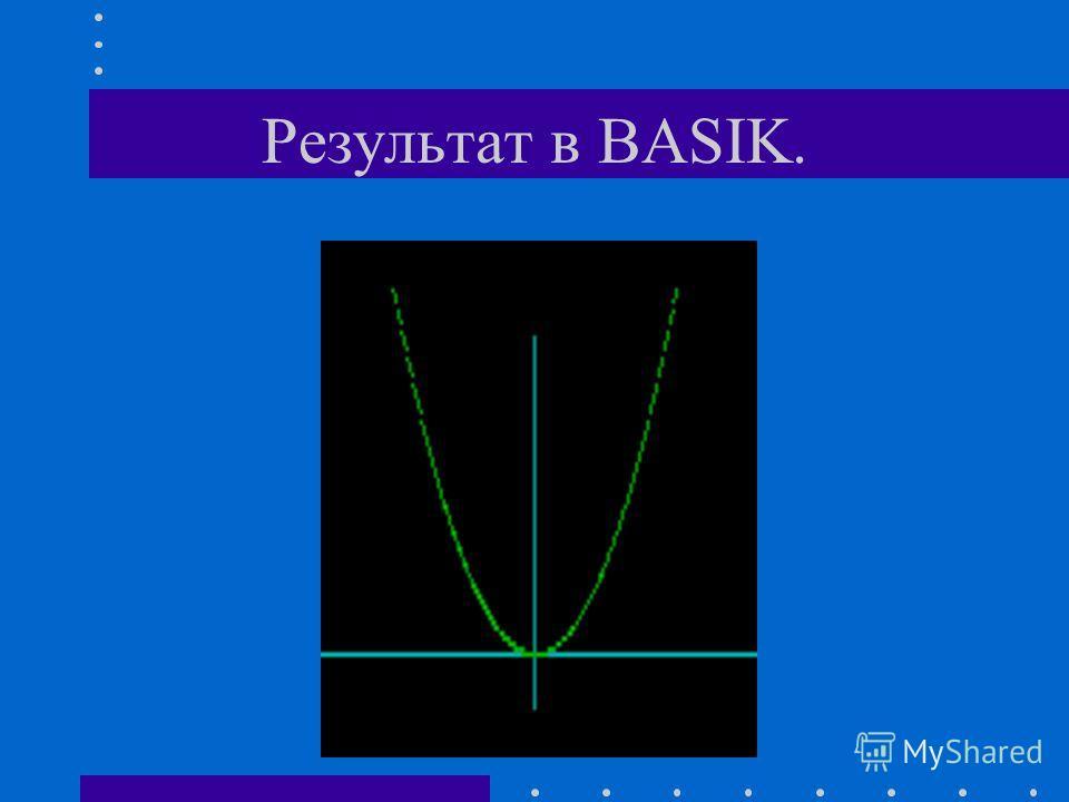 Пояснение (продолжение). 40 line (20,160)-(600,160),3 - после выполнения этой строки на экране появится ось ОХ 50 line (300,170)-(300,100),3 - на экране появится ось ОУ 80 pset (x+300,y+160),2 - неоходимо прибавить к полученным значениям х и у опреде
