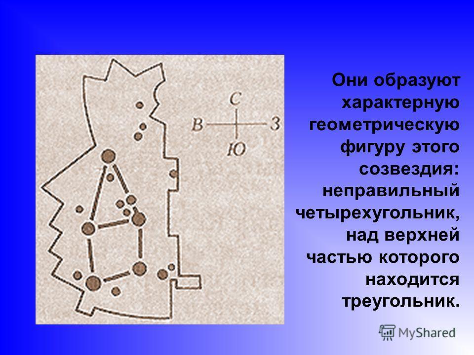 Они образуют характерную геометрическую фигуру этого созвездия: неправильный четырехугольник, над верхней частью которого находится треугольник.