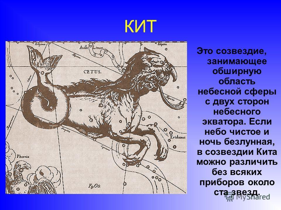 КИТ Это созвездие, занимающее обширную область небесной сферы с двух сторон небесного экватора. Если небо чистое и ночь безлунная, в созвездии Кита можно различить без всяких приборов около ста звезд.