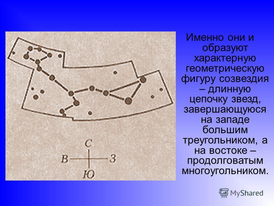 Именно они и образуют характерную геометрическую фигуру созвездия – длинную цепочку звезд, завершающуюся на западе большим треугольником, а на востоке – продолговатым многоугольником.