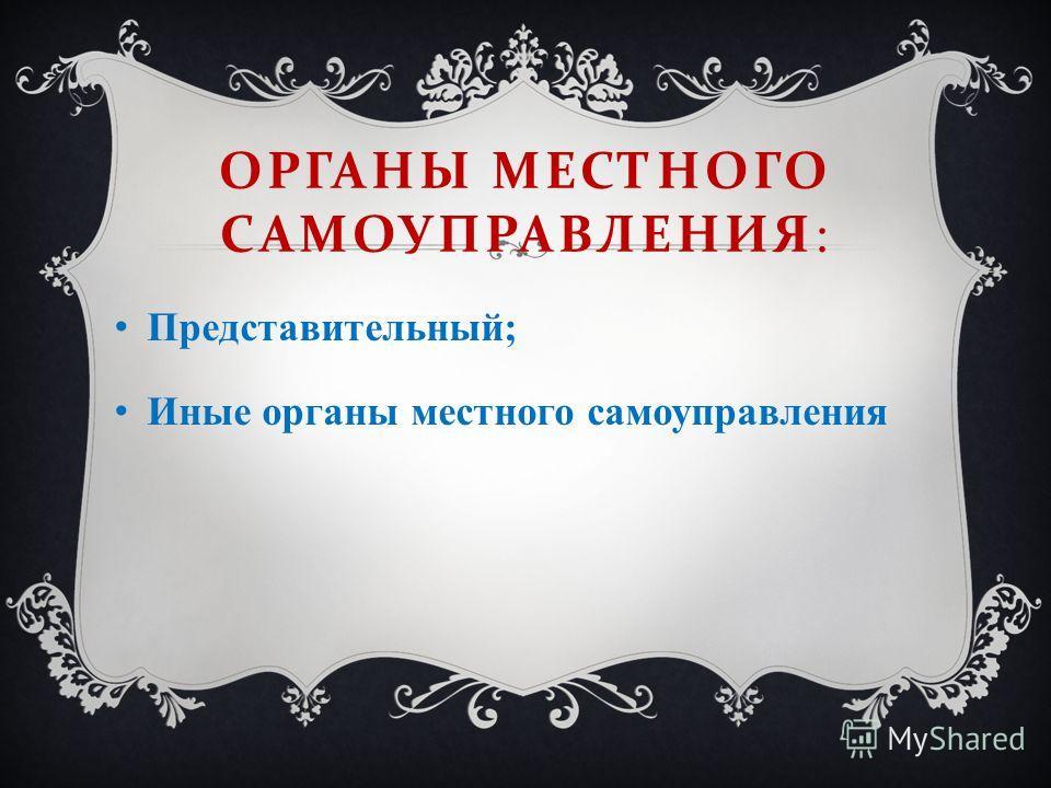 ОРГАНЫ МЕСТНОГО САМОУПРАВЛЕНИЯ : Представительный; Иные органы местного самоуправления