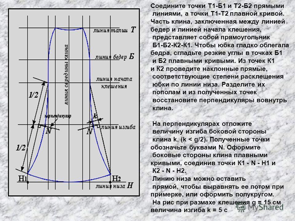 Соедините точки Т1-Б1 и Т2-Б2 прямыми линиями, а точки Т1-Т2 плавной кривой. Часть клина, заключенная между линией бедер и линией начала клешения, представляет собой прямоугольник Б1-Б2-К2-К1. Чтобы юбка гладко облегала бедра, сгладьте резкие углы в