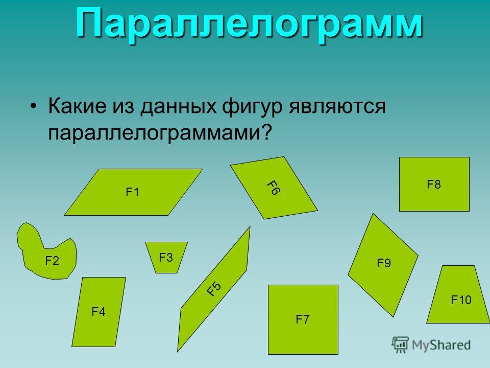 Параллелограмм Это четырёхугольник, у которого стороны попарно параллельны. АВ,СD,ВС,АD –стороны параллелограмма; А, В, С, D –углы параллелограмма; AC, BD – диагонали параллелограмма. А В С D Проверь себя Проверь себя