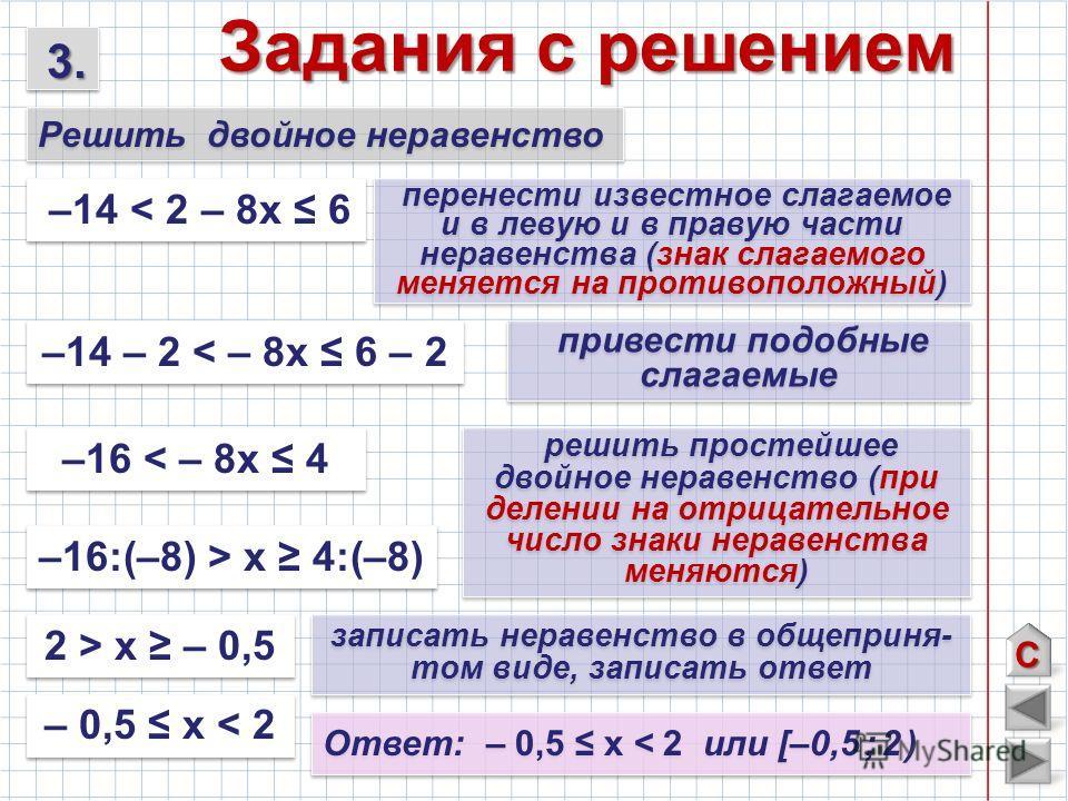 Задания с решением –14 < 2 – 8х 6 –14 – 2 < – 8х 6 – 2 перенести известное слагаемое и в левую и в правую части неравенства (знак слагаемого меняется на противоположный) привести подобные слагаемые записать неравенство в общеприня- том виде, записать