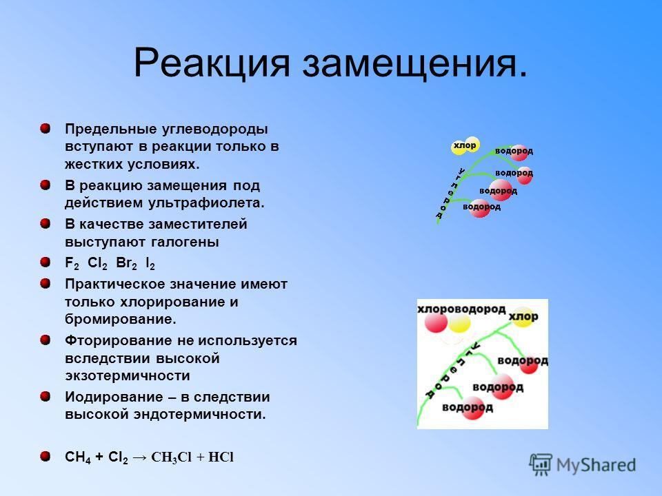 Реакция замещения. Предельные углеводороды вступают в реакции только в жестких условиях. В реакцию замещения под действием ультрафиолета. В качестве заместителей выступают галогены F 2 Cl 2 Br 2 I 2 Практическое значение имеют только хлорирование и б