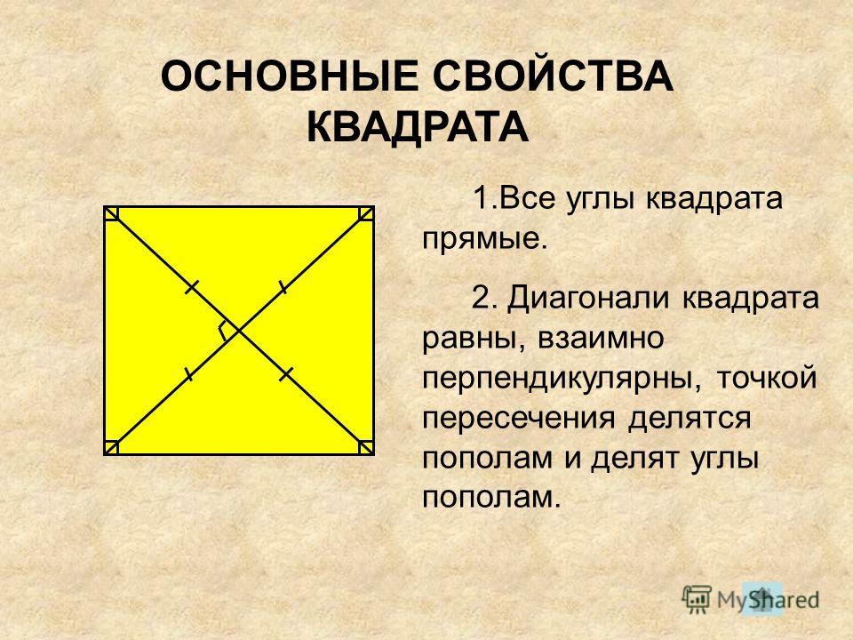 ОСНОВНЫЕ СВОЙСТВА КВАДРАТА 1.Все углы квадрата прямые. 2. Диагонали квадрата равны, взаимно перпендикулярны, точкой пересечения делятся пополам и делят углы пополам.