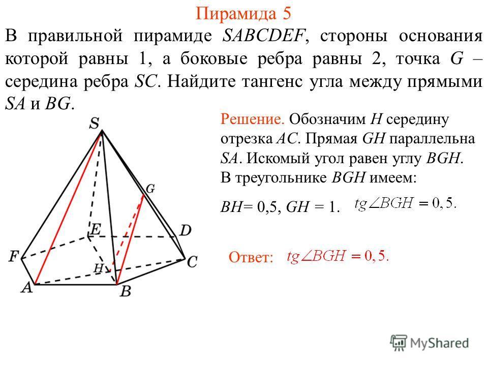 В правильной пирамиде SABCDEF, стороны основания которой равны 1, а боковые ребра равны 2, точка G – середина ребра SC. Найдите тангенс угла между прямыми SA и BG. Пирамида 5 Ответ: Решение. Обозначим H середину отрезка AC. Прямая GH параллельна SA.