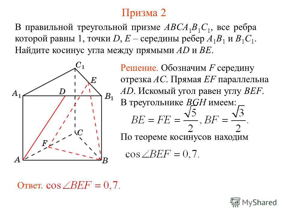 В правильной треугольной призме ABCA 1 B 1 C 1, все ребра которой равны 1, точки D, E – середины ребер A 1 B 1 и B 1 C 1. Найдите косинус угла между прямыми AD и BE. Призма 2 Решение. Обозначим F середину отрезка AC. Прямая EF параллельна AD. Искомый