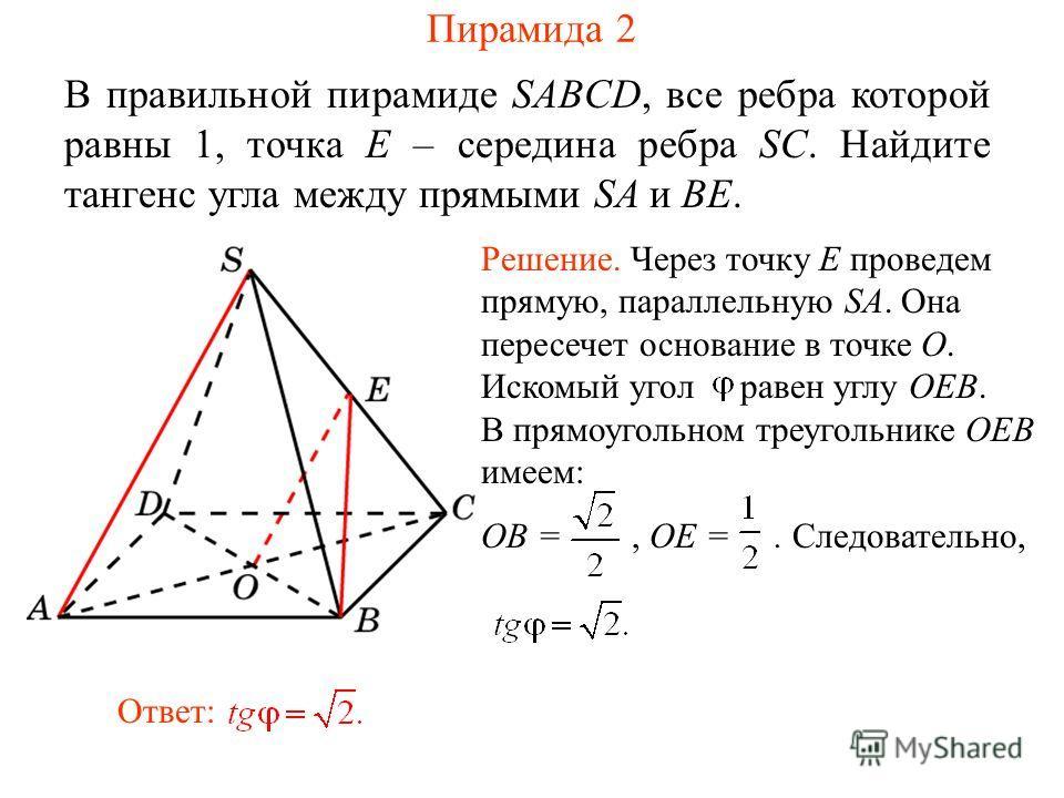 В правильной пирамиде SABCD, все ребра которой равны 1, точка E – середина ребра SC. Найдите тангенс угла между прямыми SA и BE. Ответ: Решение. Через точку E проведем прямую, параллельную SA. Она пересечет основание в точке O. Искомый угол равен угл