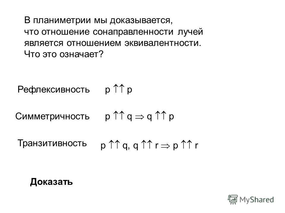 В планиметрии мы доказывается, что отношение сонаправленности лучей является отношением эквивалентности. Что это означает? Рефлексивность Симметричность Транзитивность p р p q q p p q, q r p r Доказать