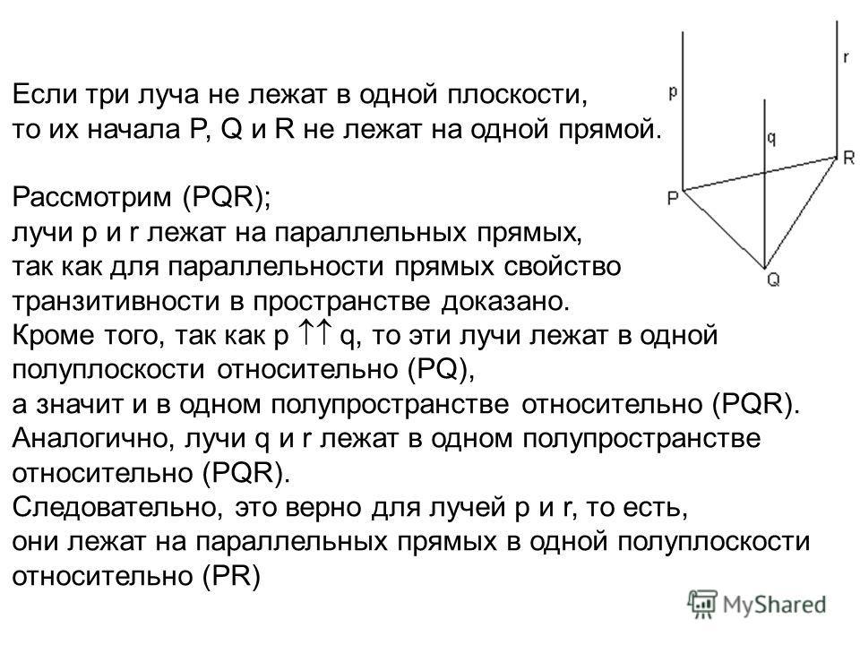 Если три луча не лежат в одной плоскости, то их начала P, Q и R не лежат на одной прямой. Рассмотрим (PQR); лучи р и r лежат на параллельных прямых, так как для параллельности прямых свойство транзитивности в пространстве доказано. Кроме того, так ка