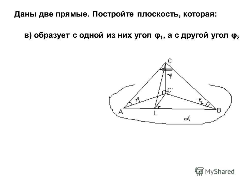 Даны две прямые. Постройте плоскость, которая: в) образует с одной из них угол φ 1, а с другой угол φ 2