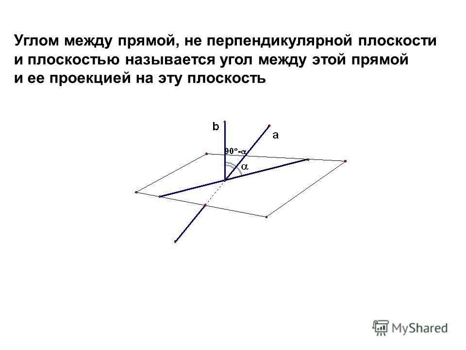 Углом между прямой, не перпендикулярной плоскости и плоскостью называется угол между этой прямой и ее проекцией на эту плоскость