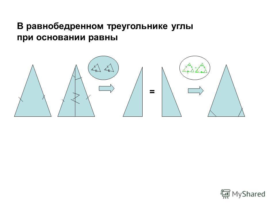 В равнобедренном треугольнике углы при основании равны =