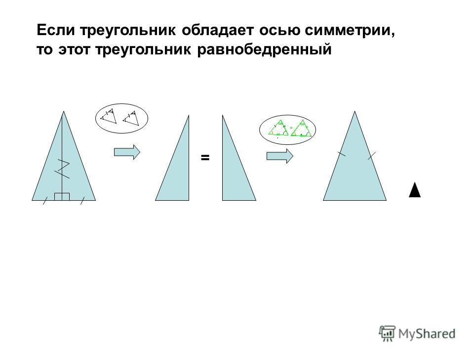 Если треугольник обладает осью симметрии, то этот треугольник равнобедренный =