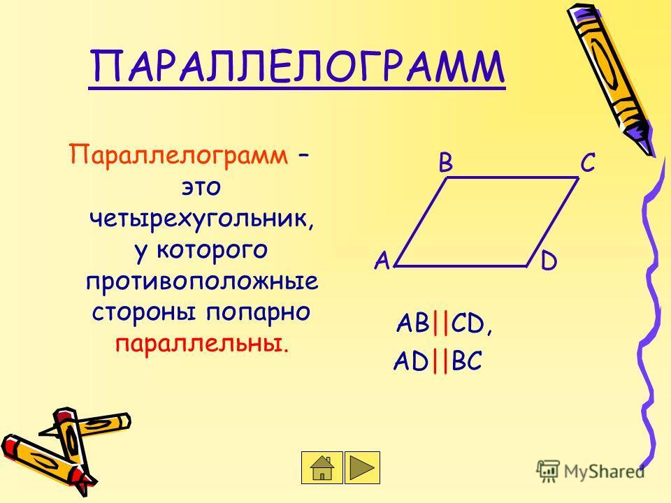 ПАРАЛЛЕЛОГРАММ Параллелограмм – это четырехугольник, у которого противоположные стороны попарно параллельны. АD  ВС ВС АD АВ  СD,