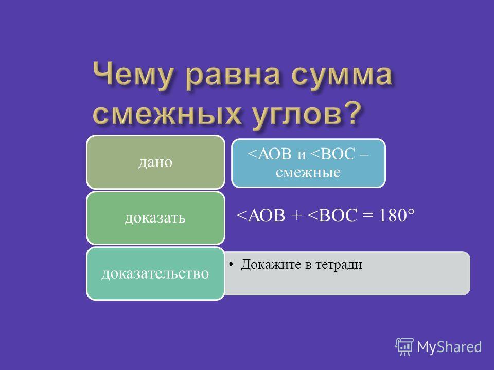 Смежные углы Вертикальные углы Постройте два угла, у которых одна сторона общая. Постройте два угла, у которых одна сторона общая, а две другие являются продолжениями одна другой Постройте углы, чтобы стороны одного угла являлись продолжением другого