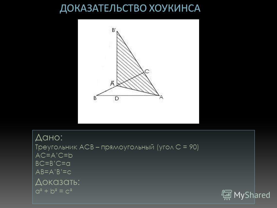 Дано: Треугольник АСB – прямоугольный (угол С = 90) AC=AC=b BC=BC=a AB=AB=c Доказать: a² + b² = c²