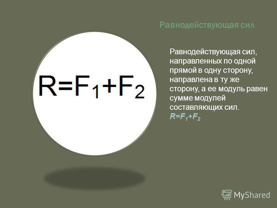 Равнодействующая сил Равнодействующая сил, направленных по одной прямой в одну сторону, направлена в ту же сторону, а ее модуль равен сумме модулей составляющих сил. R=F 1 +F 2