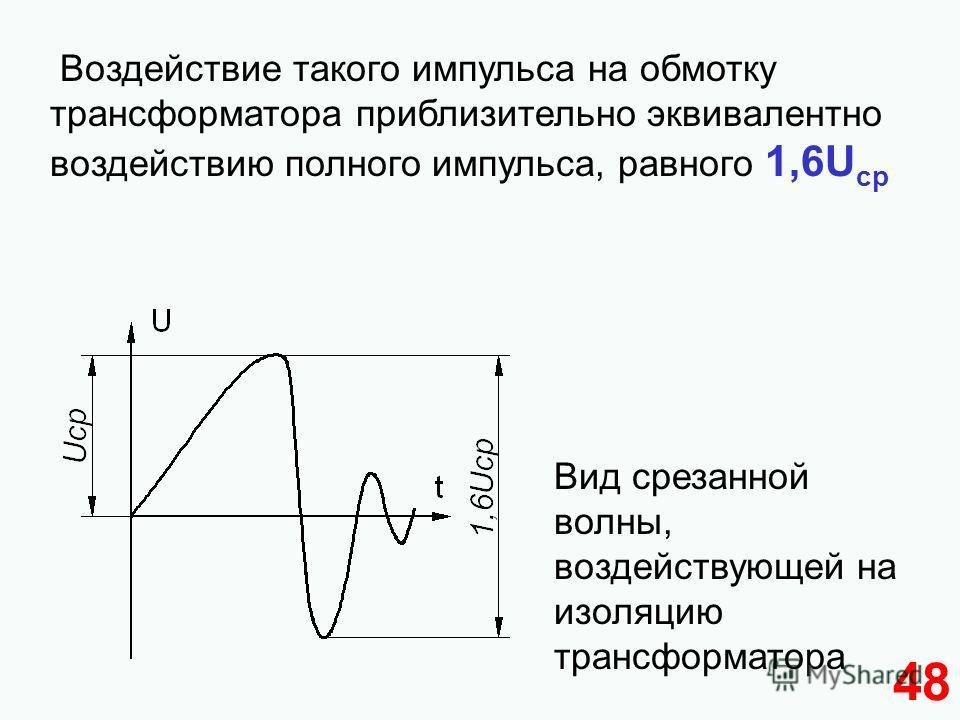 48 Воздействие такого импульса на обмотку трансформатора приблизительно эквивалентно воздействию полного импульса, равного 1,6U ср Вид срезанной волны, воздействующей на изоляцию трансформатора
