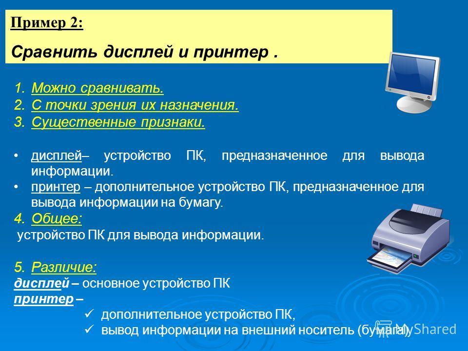 Пример 2: Сравнить дисплей и принтер. 1.Можно сравнивать. 2.С точки зрения их назначения. 3.Существенные признаки. дисплей– устройство ПК, предназначенное для вывода информации. принтер – дополнительное устройство ПК, предназначенное для вывода инфор