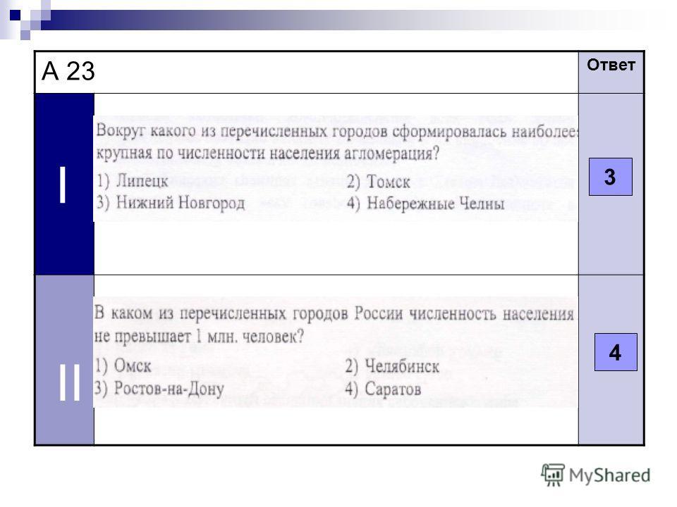 А 23 Ответ I II 3 4