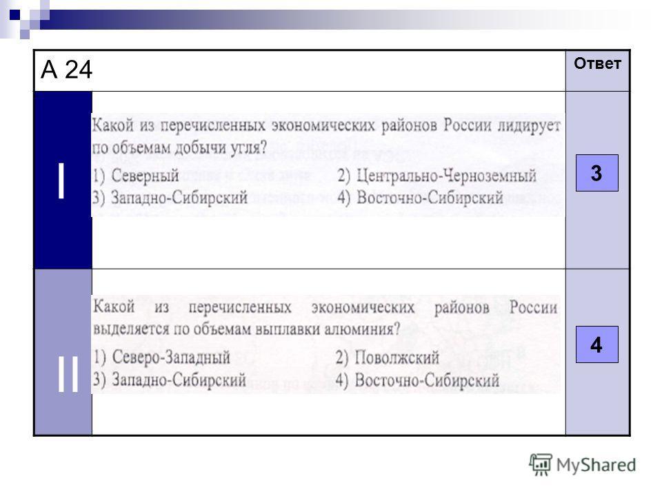 А 24 Ответ I II 3 4