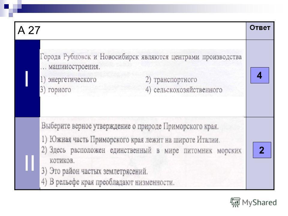 А 27 Ответ I II 4 2