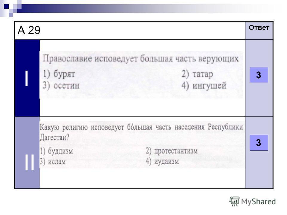 А 29 Ответ I II 3 3