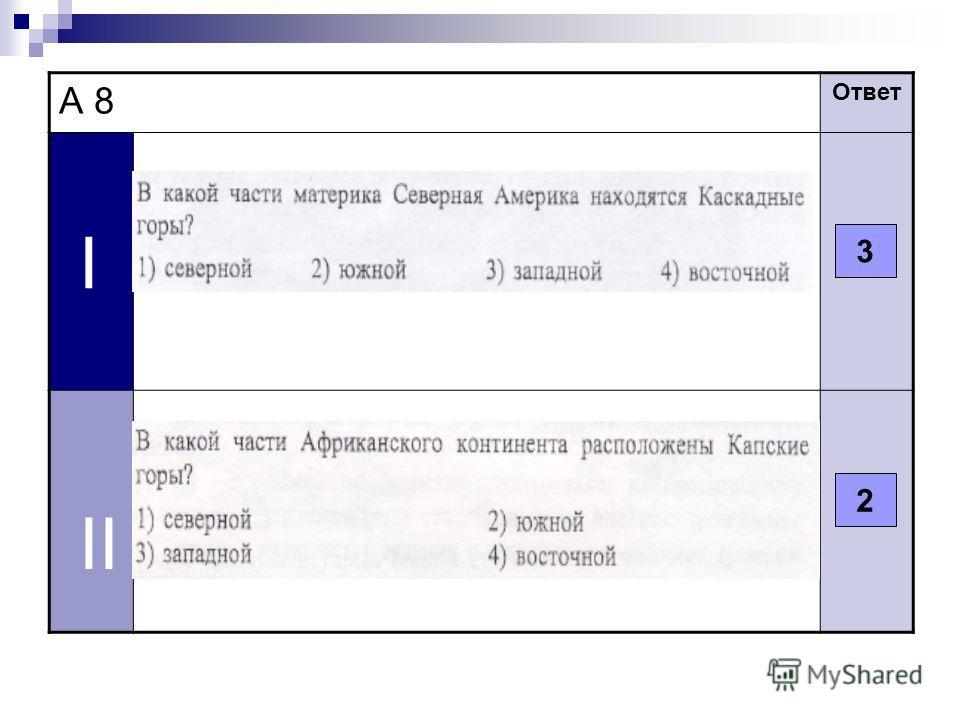 А 8 Ответ I II 3 2