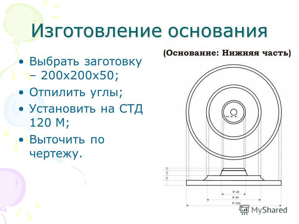 Изготовление основания Выбрать заготовку – 200х200х50; Отпилить углы; Установить на СТД 120 М; Выточить по чертежу.