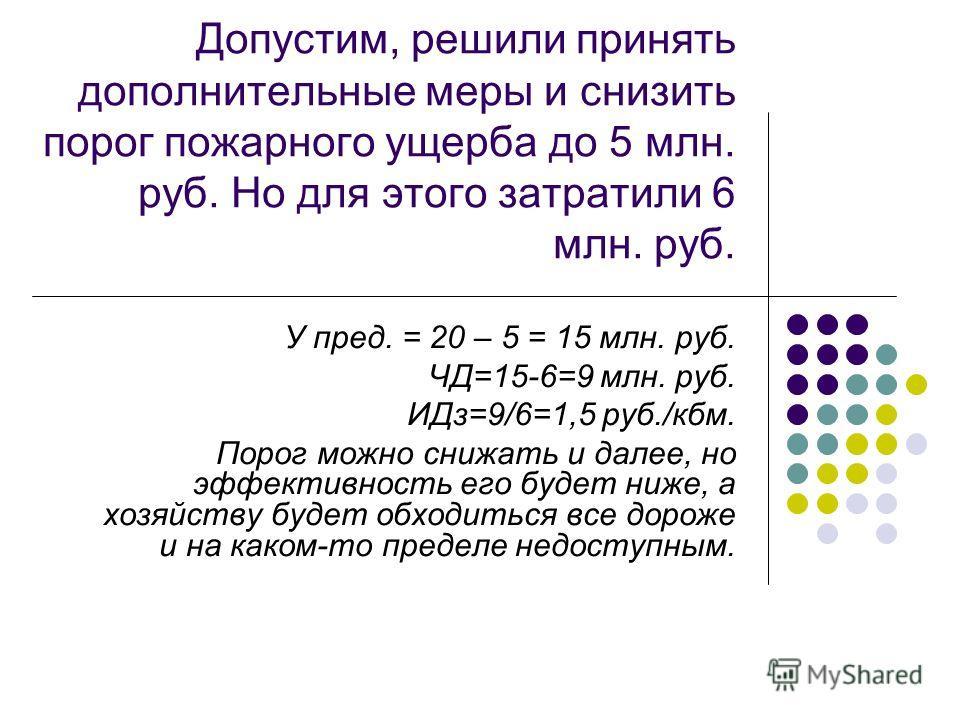 Допустим, решили принять дополнительные меры и снизить порог пожарного ущерба до 5 млн. руб. Но для этого затратили 6 млн. руб. У пред. = 20 – 5 = 15 млн. руб. ЧД=15-6=9 млн. руб. ИДз=9/6=1,5 руб./кбм. Порог можно снижать и далее, но эффективность ег