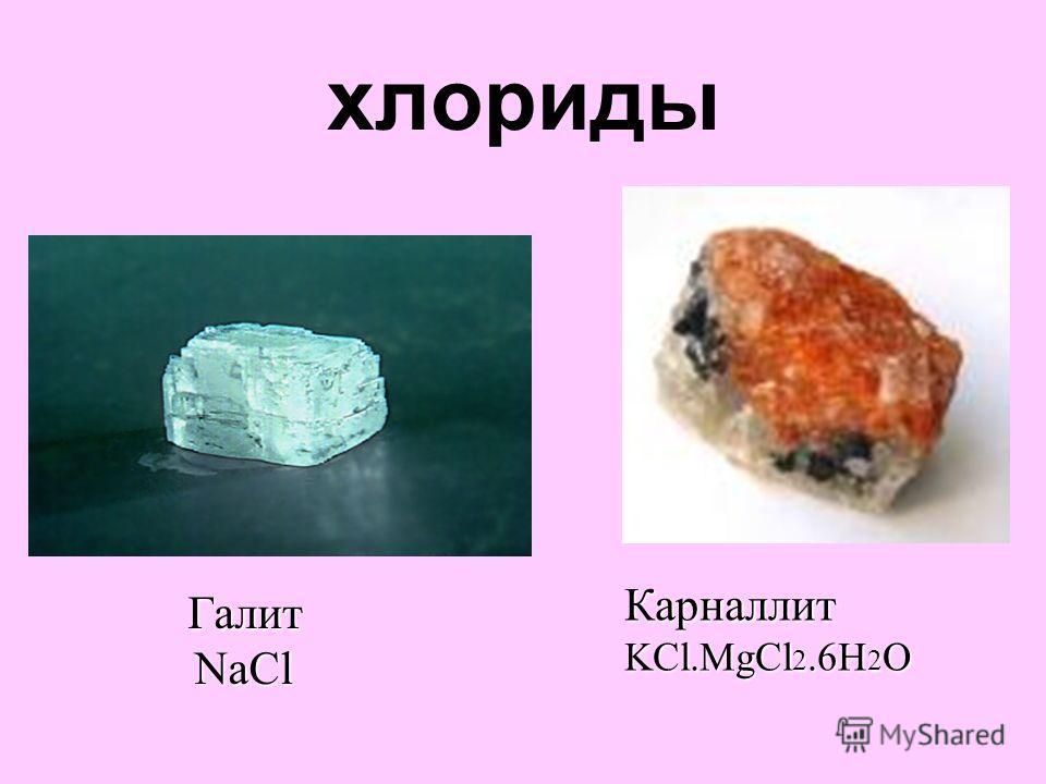 хлориды Галит NaCl NaCl Карналлит KCl.MgCl 2.6H 2 O
