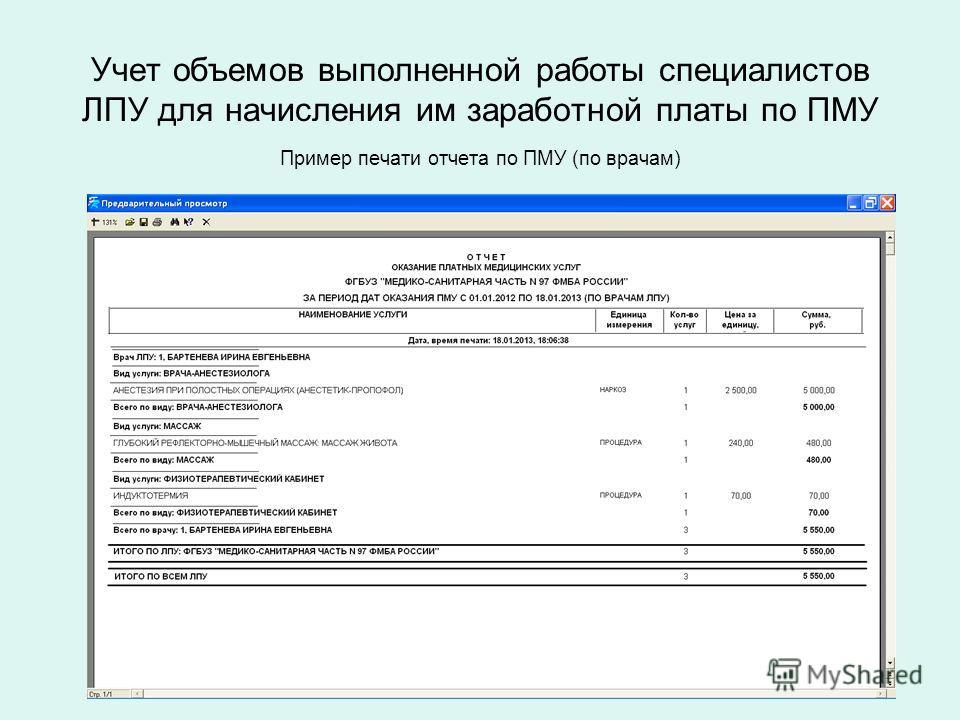 Учет объемов выполненной работы специалистов ЛПУ для начисления им заработной платы по ПМУ Пример печати отчета по ПМУ (по врачам)