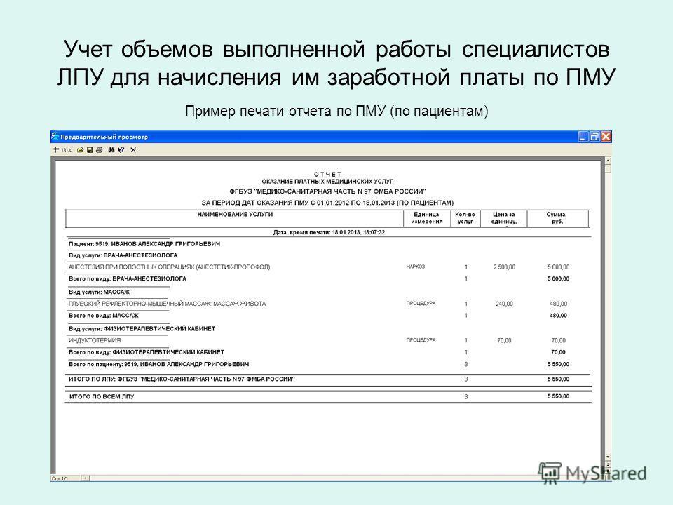 Учет объемов выполненной работы специалистов ЛПУ для начисления им заработной платы по ПМУ Пример печати отчета по ПМУ (по пациентам)