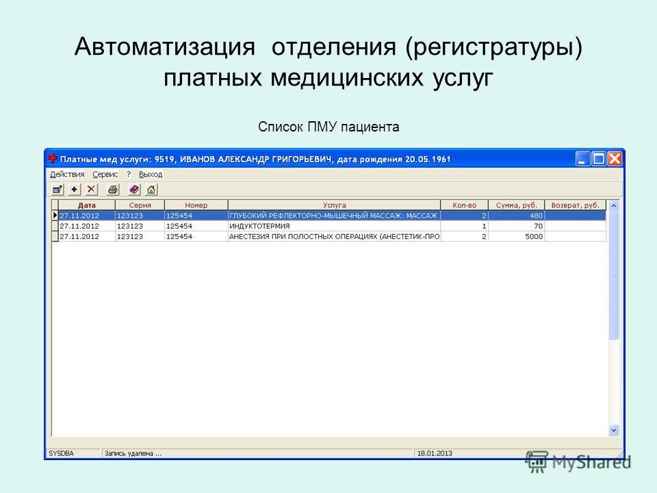 Автоматизация отделения (регистратуры) платных медицинских услуг Список ПМУ пациента