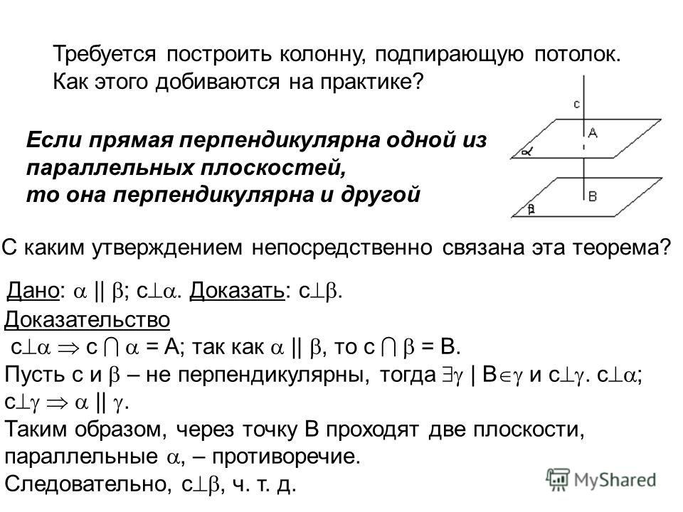 . Требуется построить колонну, подпирающую потолок. Как этого добиваются на практике? Если прямая перпендикулярна одной из параллельных плоскостей, то она перпендикулярна и другой С каким утверждением непосредственно связана эта теорема? Дано: || ; с