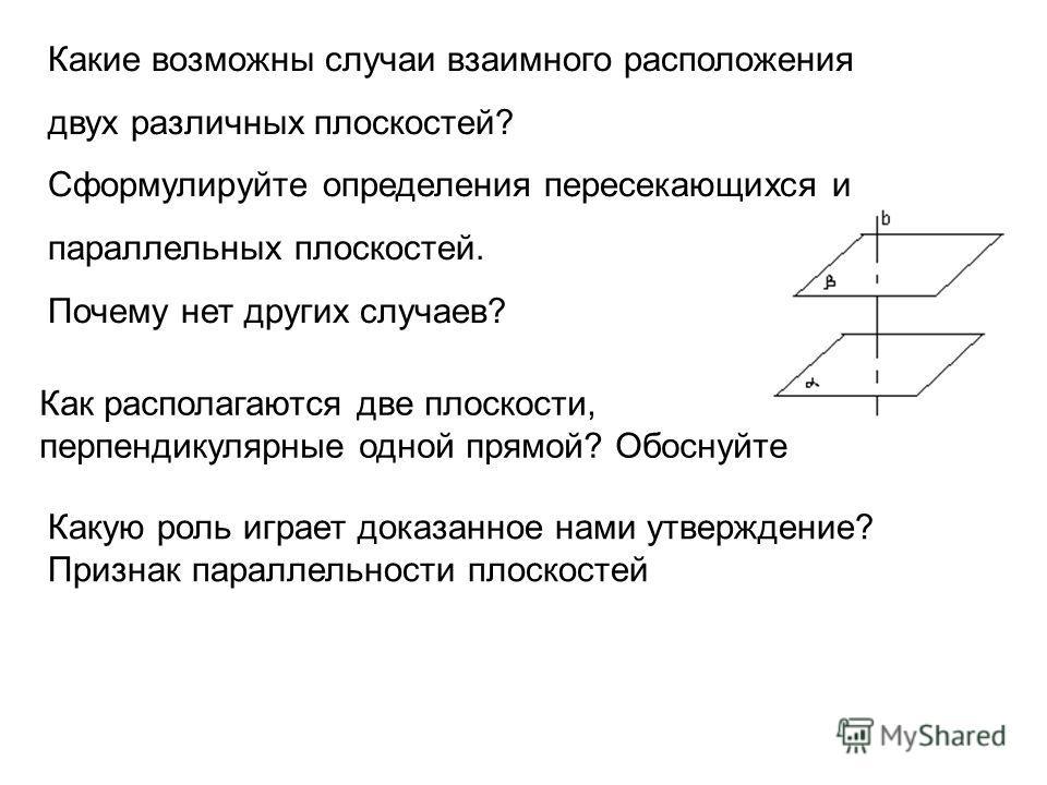 Какие возможны случаи взаимного расположения двух различных плоскостей? Сформулируйте определения пересекающихся и параллельных плоскостей. Почему нет других случаев? Как располагаются две плоскости, перпендикулярные одной прямой? Обоснуйте Какую рол