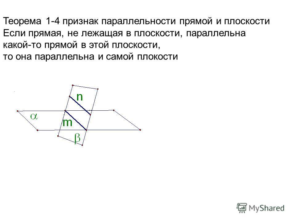 . Теорема 1-4 признак параллельности прямой и плоскости Если прямая, не лежащая в плоскости, параллельна какой-то прямой в этой плоскости, то она параллельна и самой плокости