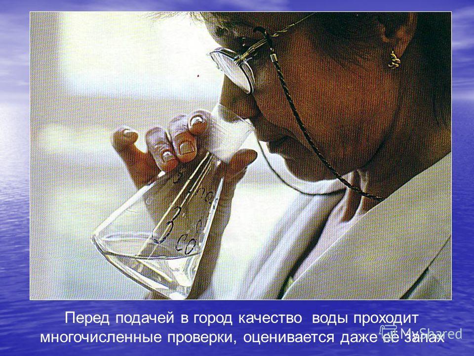 Перед подачей в город качество воды проходит многочисленные проверки, оценивается даже её запах